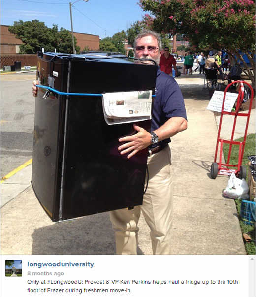 Only at #longwoodU: Provost & VP Ken Perkins helps haul a fridge up to the 10th floor of Frazer during freshmen move-in.